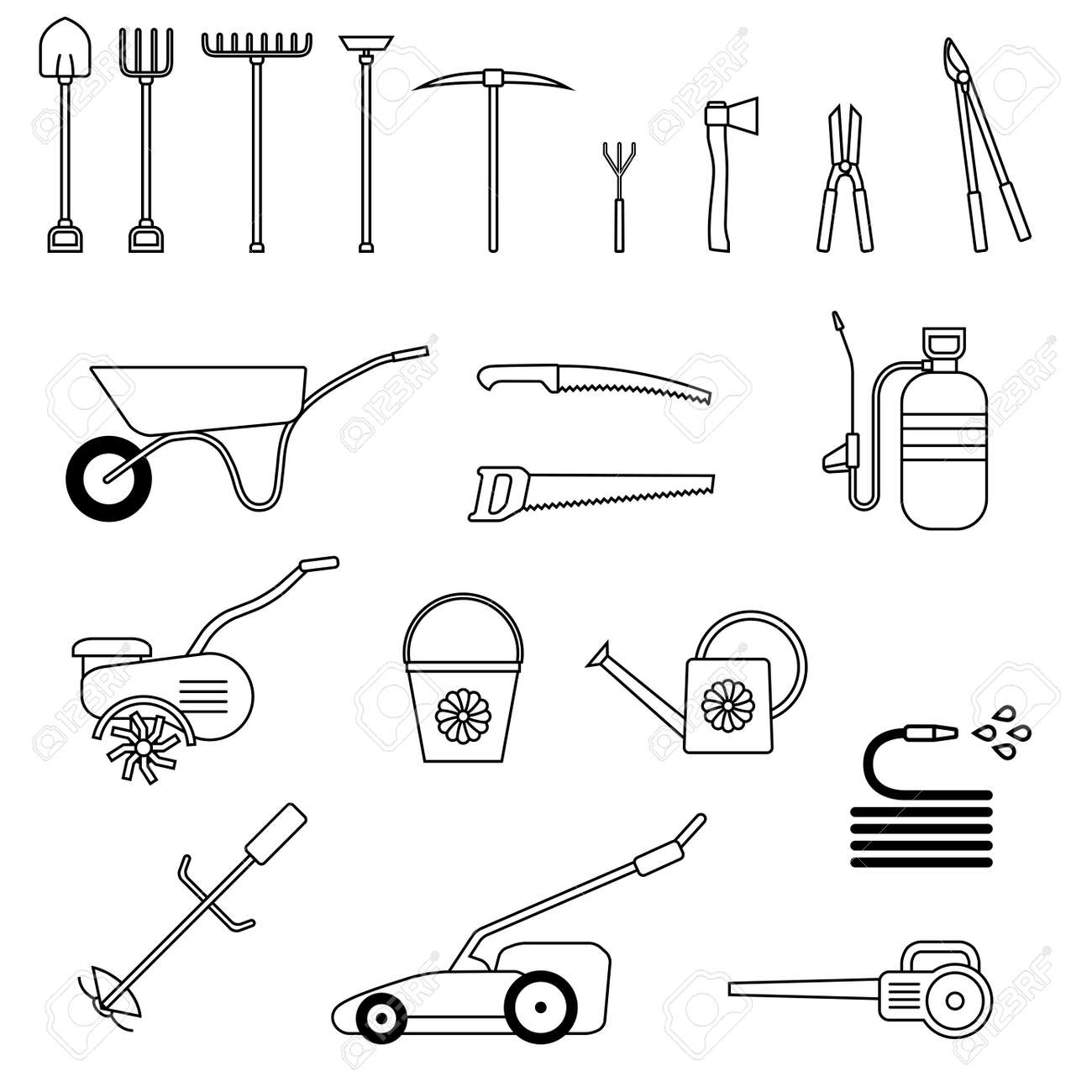 Ensemble d\'outils de jardin. Jardin outil icône. Outils de jardinage. des  outils agricoles. Vector illustration.