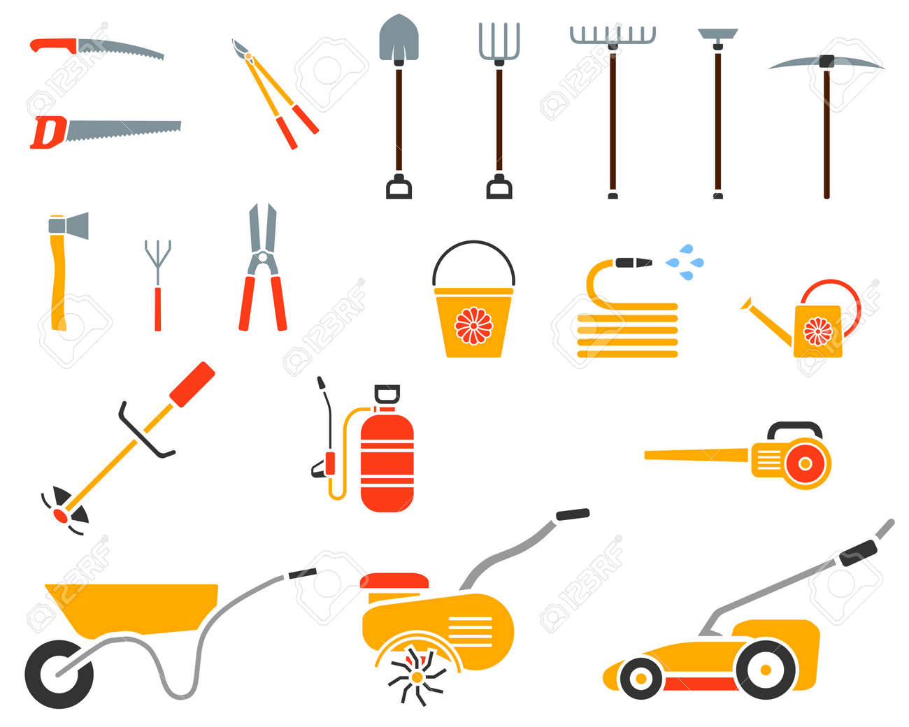 Set Of Garden Tool Garden Tool Icon Gardening Equipment Agriculture