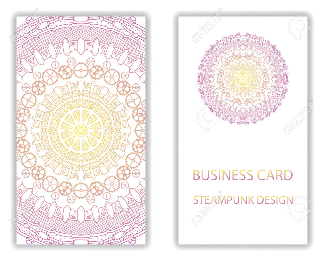 Business Card With Steampunk Abstract Design Elements. Steam ...