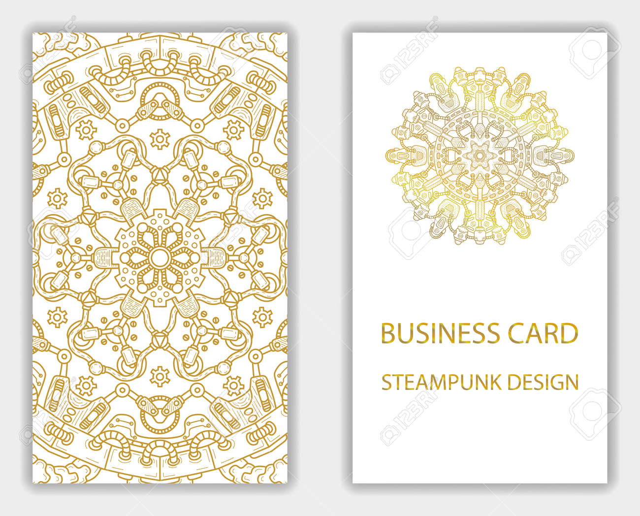 Business Card With Steampunk Abstract Design Elements Steam