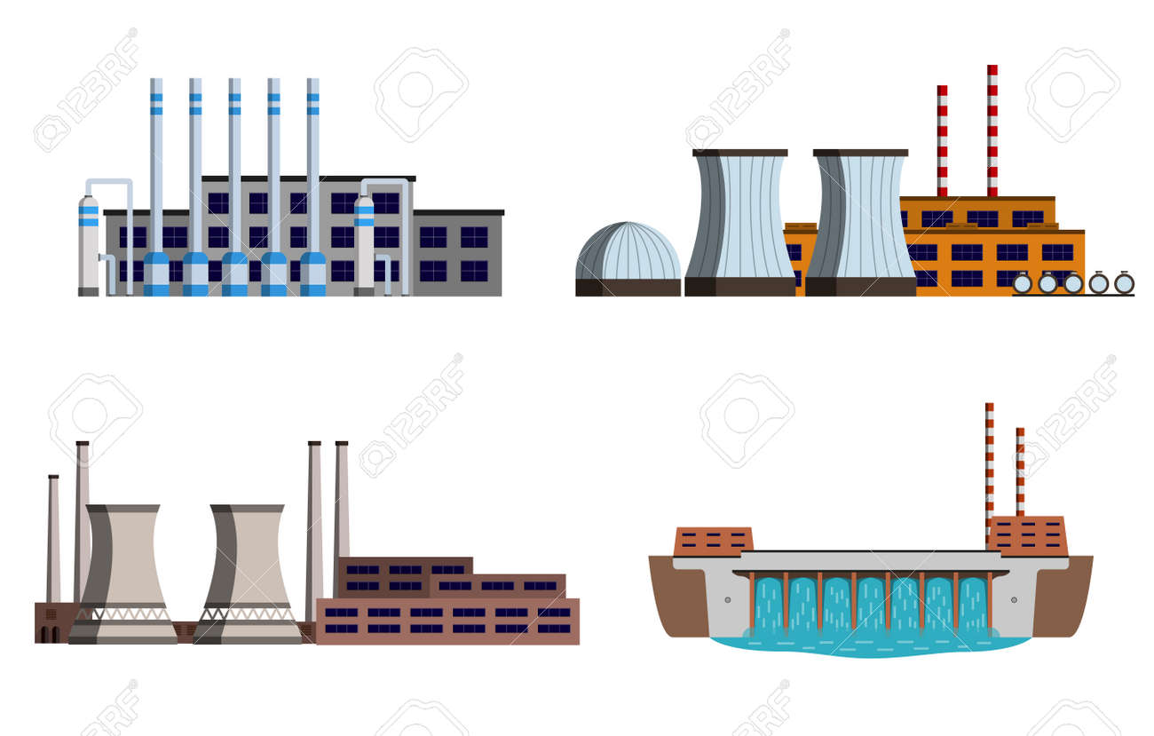 Set Of Energy Station Gas Station Nuclear Power Station Hydro Power Vector Illustration Royalty Free Cliparts Vetores E Ilustracoes Stock Image 71600319