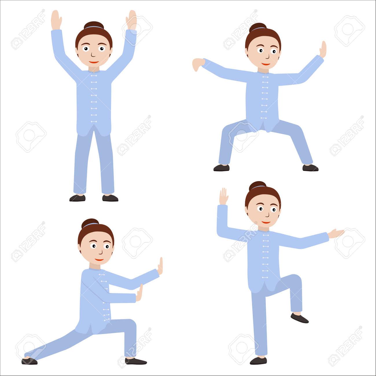 Fille Executant Des Exercices Qigong Ou Taijiquan Femme Pratiquant Le Tai Chi Style Plat Illustration Vectorielle Clip Art Libres De Droits Vecteurs Et Illustration Image 72459168