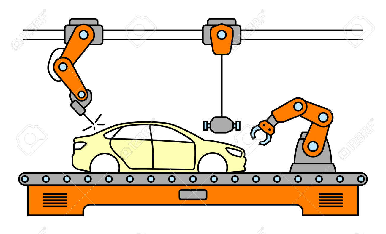 Thin Line Style Car Assembly Line. Automatic Auto Production ...