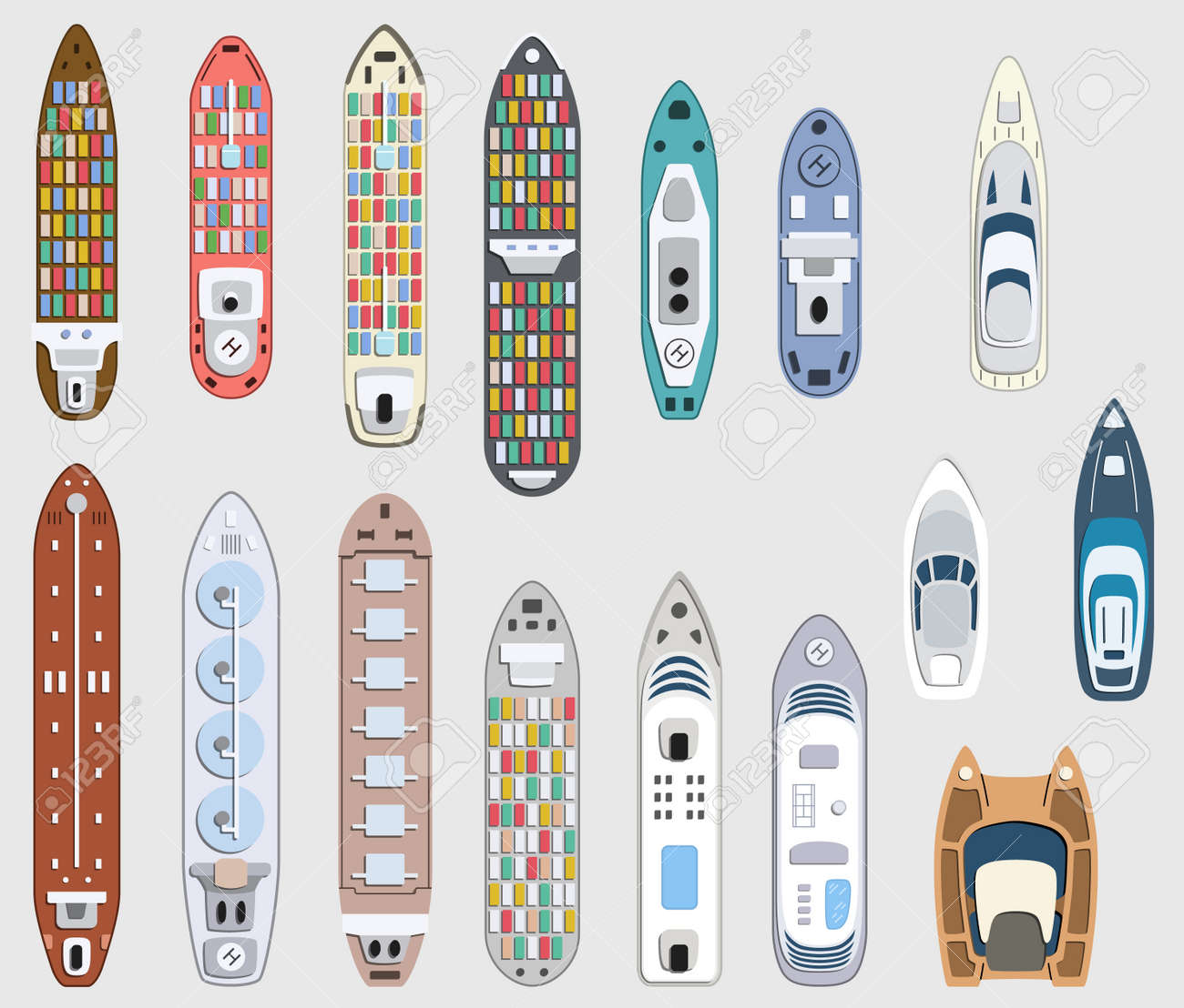 Set of commercial cargo and passengers ships. Sea transportation vehicle. Transport boat. International water trade concept. Vector illustration. - 104370544