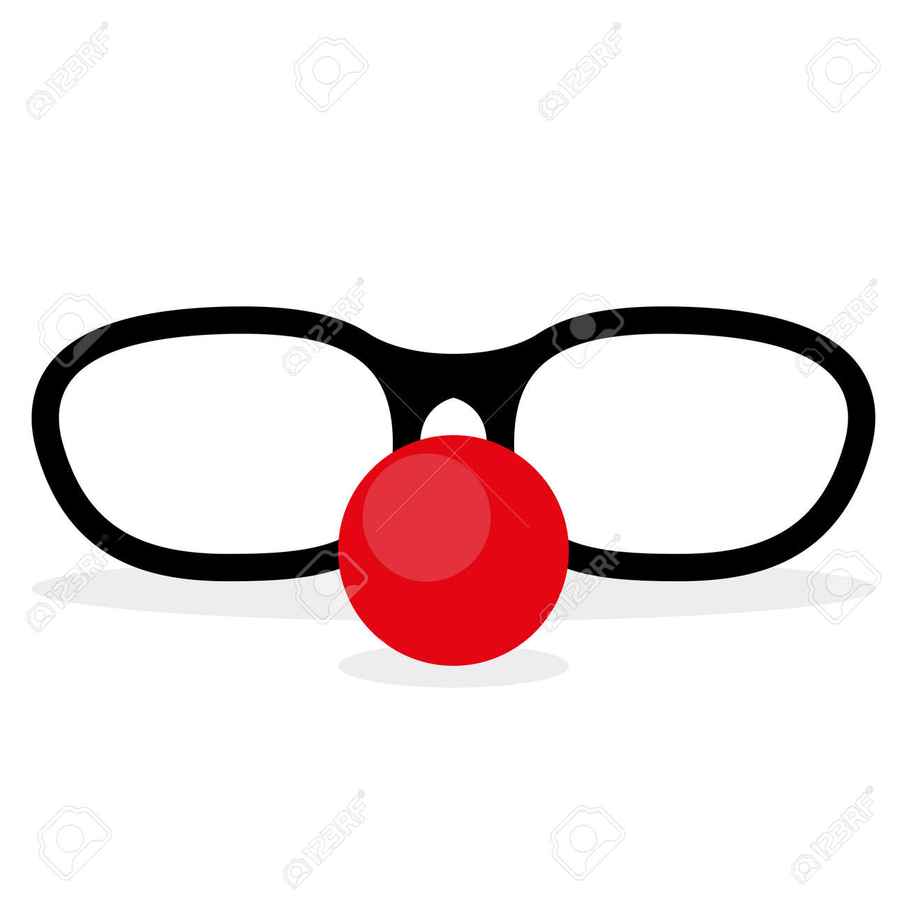 sunglasses and red clown nose template for a mask royalty free