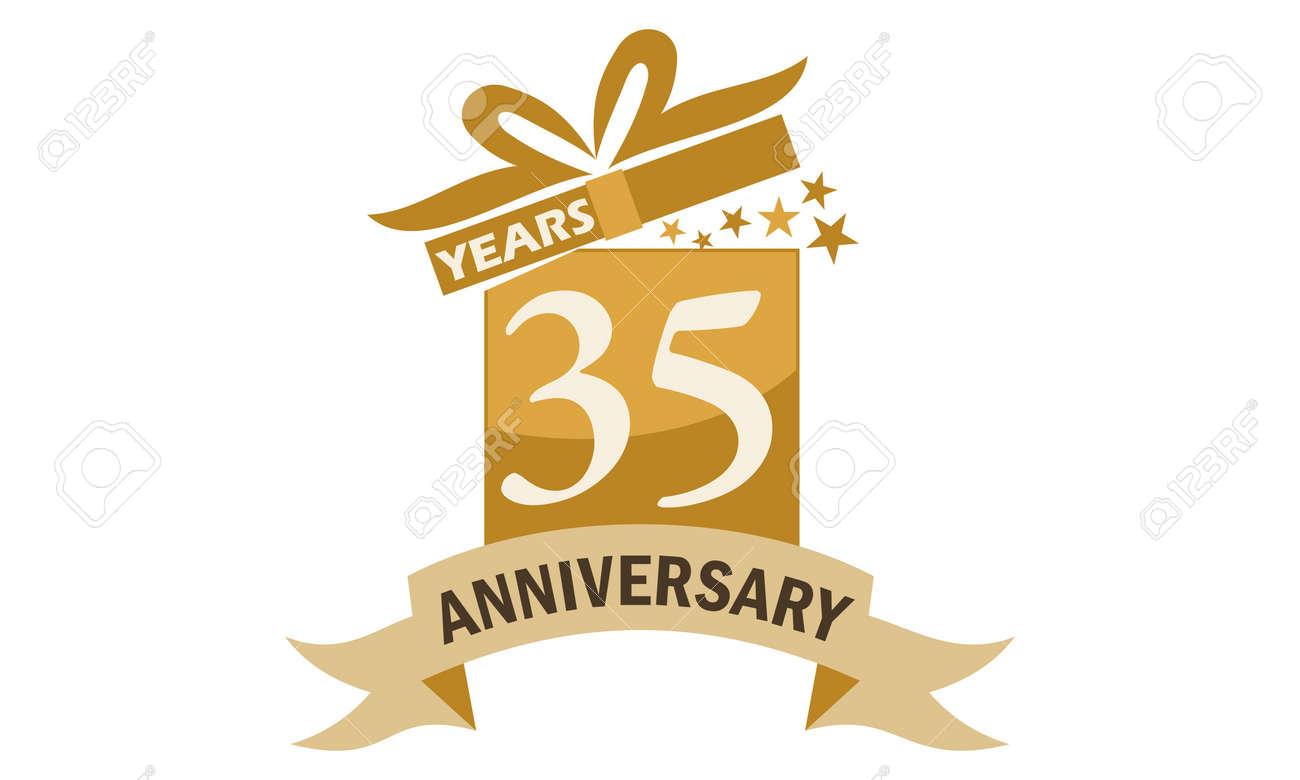 35 Years Gift Box Ribbon Anniversary Royalty Free Cliparts Vectors