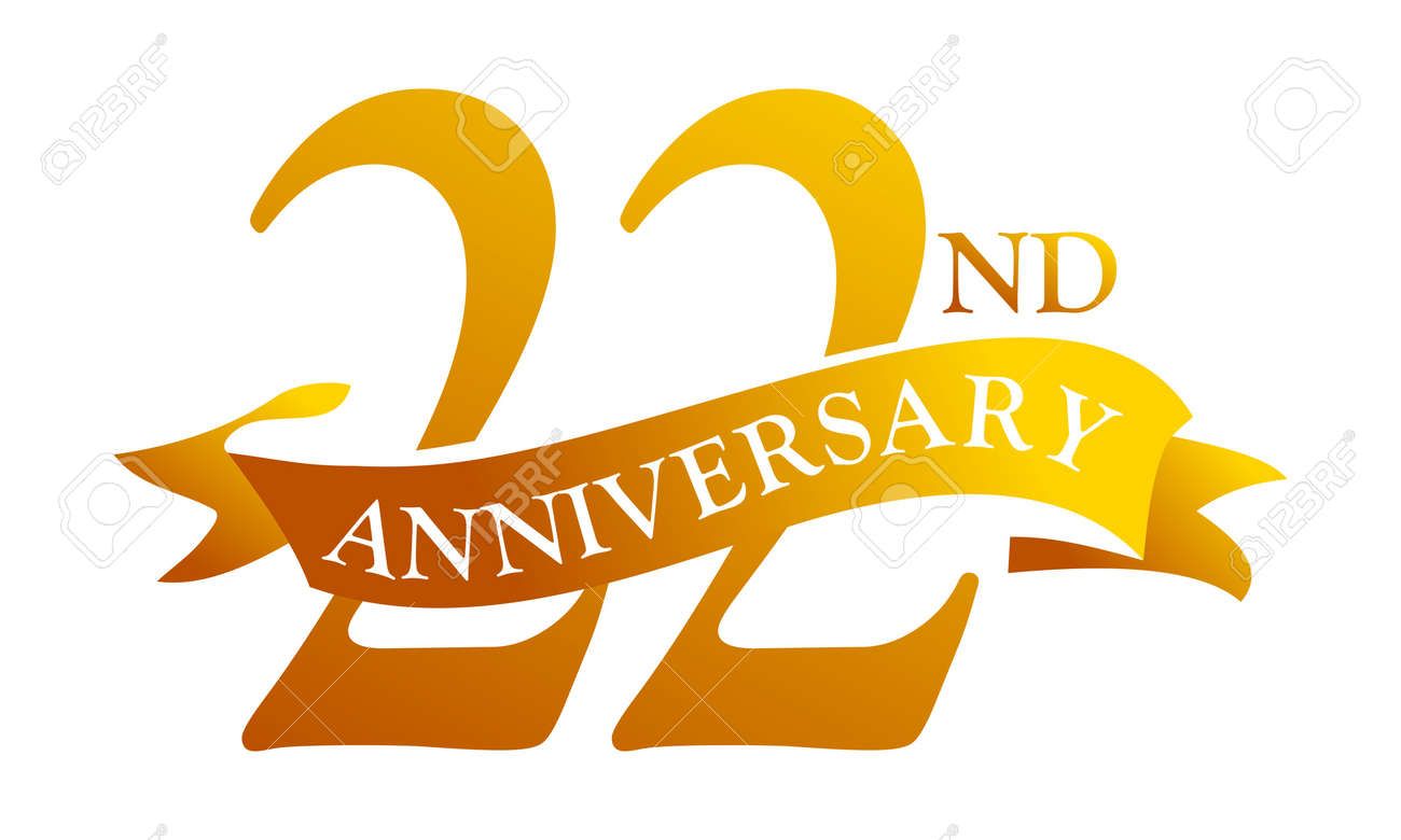 22 year ribbon anniversary vector illustration royalty free