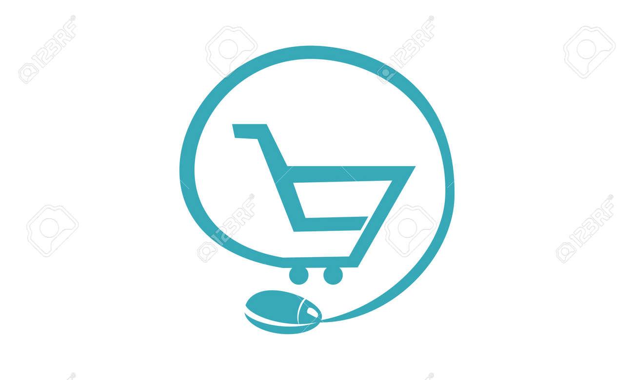 Shop Online Logo Design Template Vector Royalty Free Cliparts