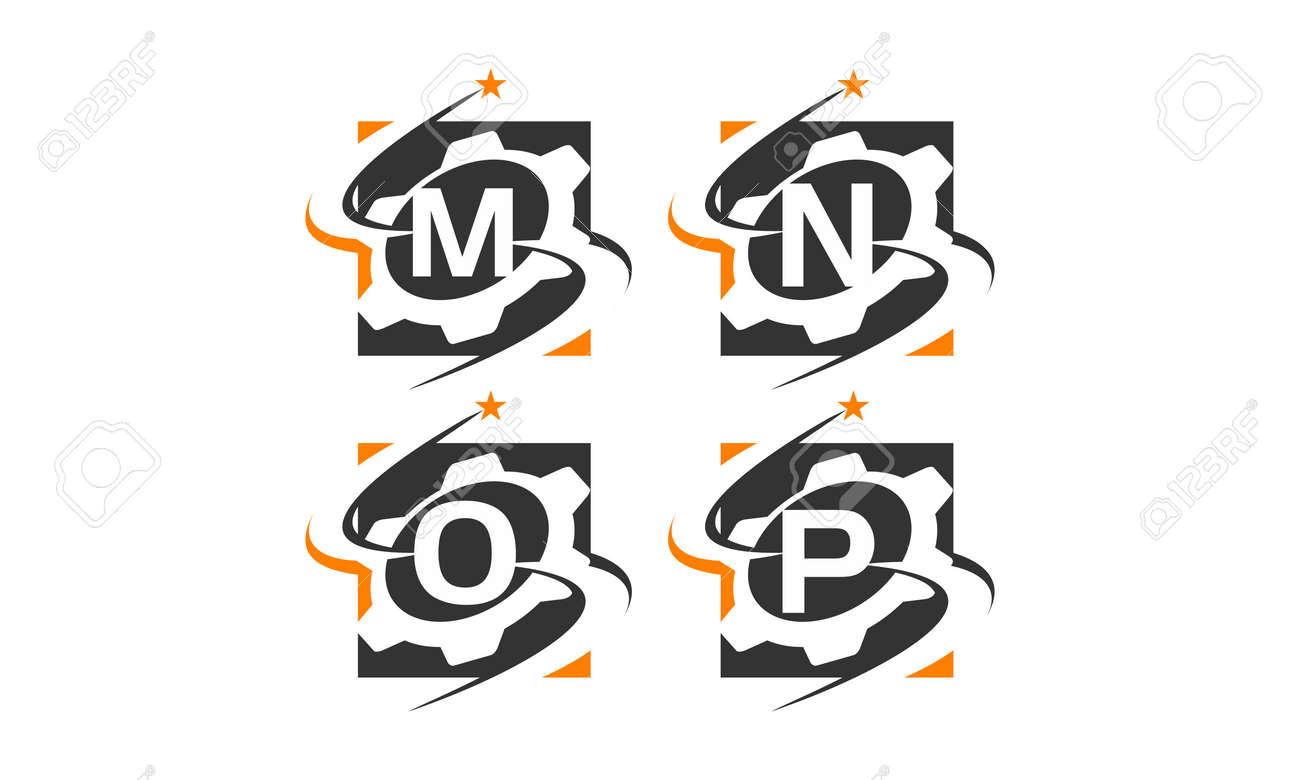 Gear letter M, N, O, P solution template design set illustration. - 94586537