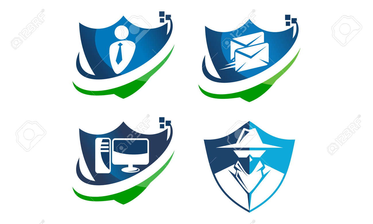 Global Security Shield Template Set Royalty Free Cliparts, Vectors ...