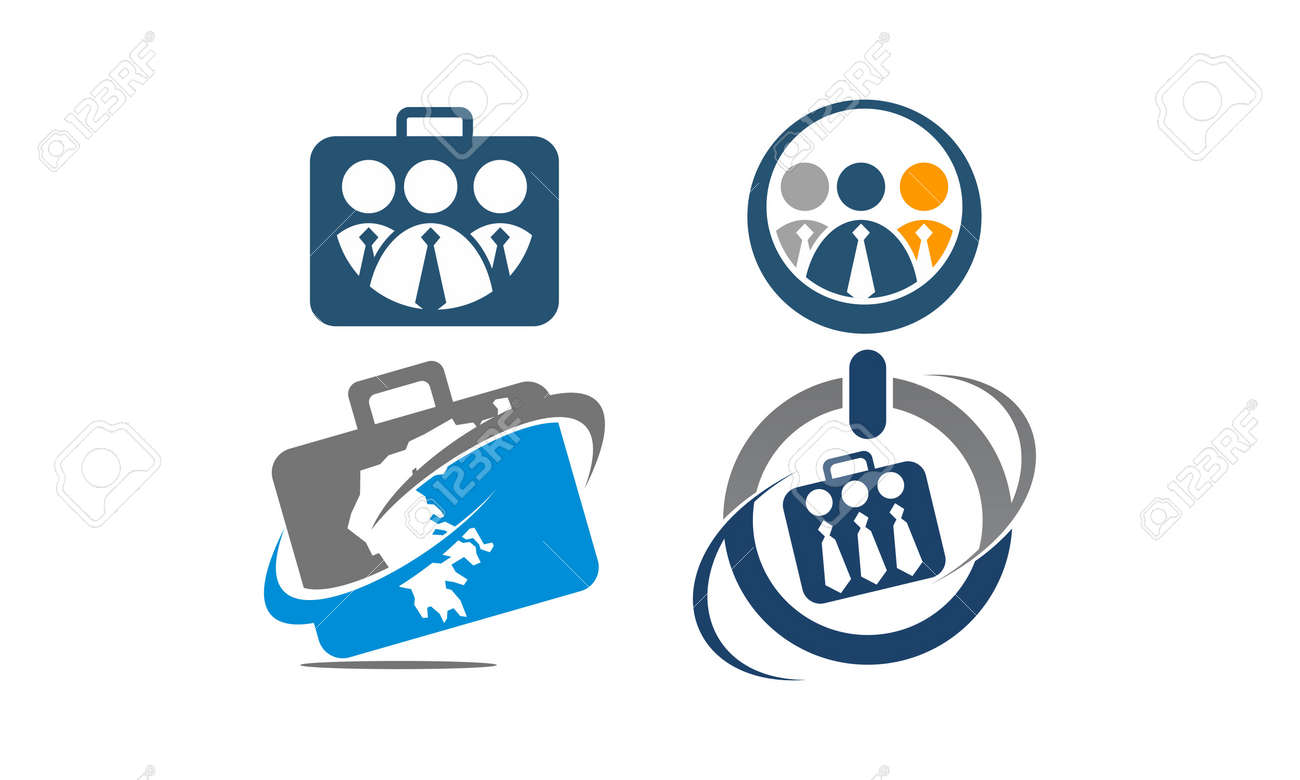 global leadership teamwork solution theme logo set royalty free