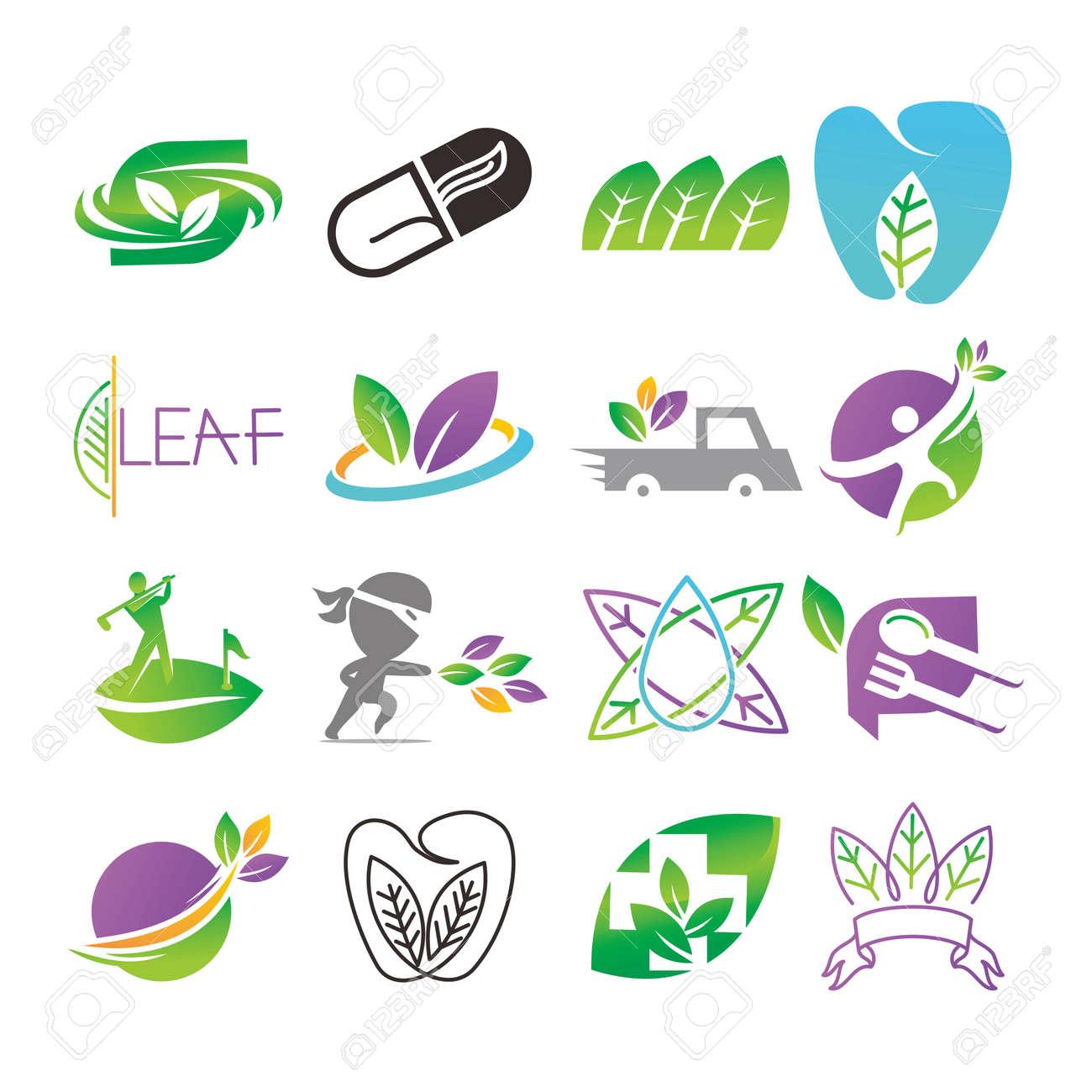 Leaf Logo Design Vector Template Set - 121554892