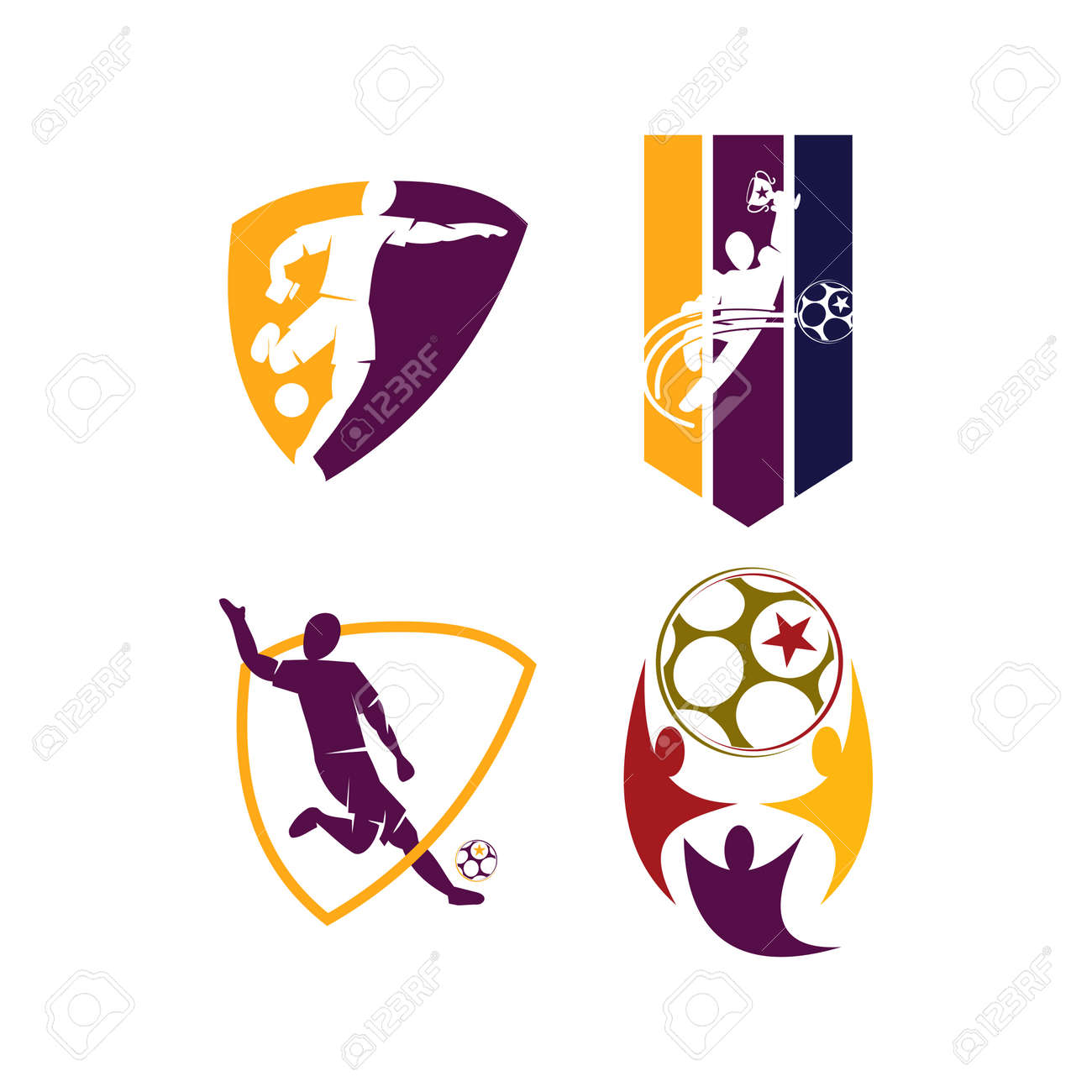 Soccer Football Badge Logo Design Templates Sport Vector Royalty Free Cliparts Vectors And Stock Illustration Image 128951717