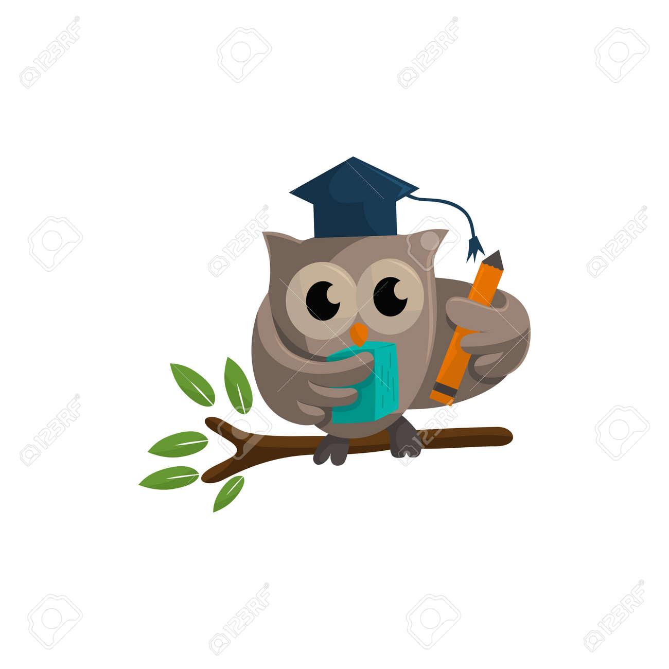 Owl bird template design Smart Education with Owl Symbol - 166860426