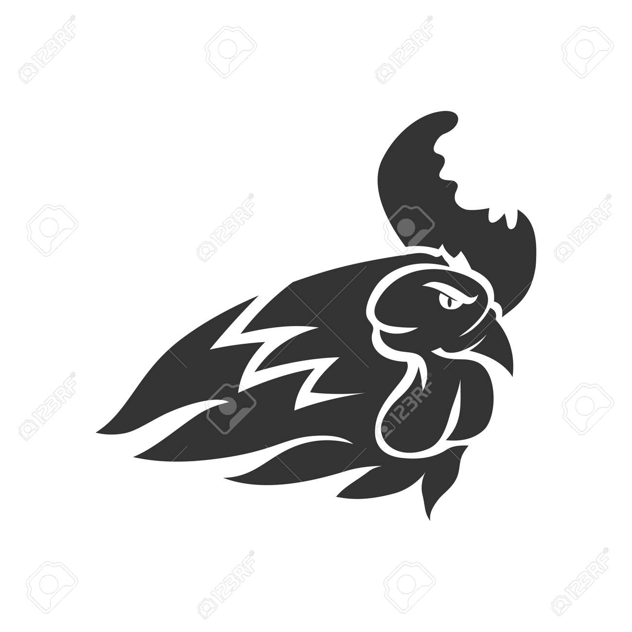 Chicken Rooster Head Mascot Animal Template Silhouette Isolated - 169326699