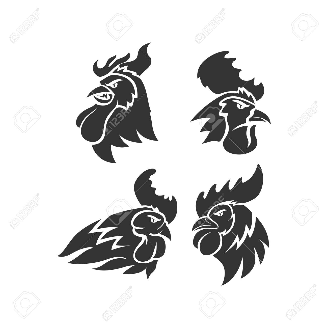 Chicken Rooster Head Mascot Animal Template Silhouette Set - 169326700