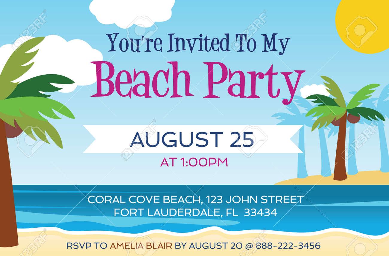 Beach Party Invitation Template Vector Illustration