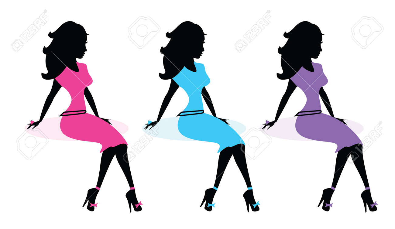 Fashion Diva Silhouette Set Vector Illustration Royalty Free