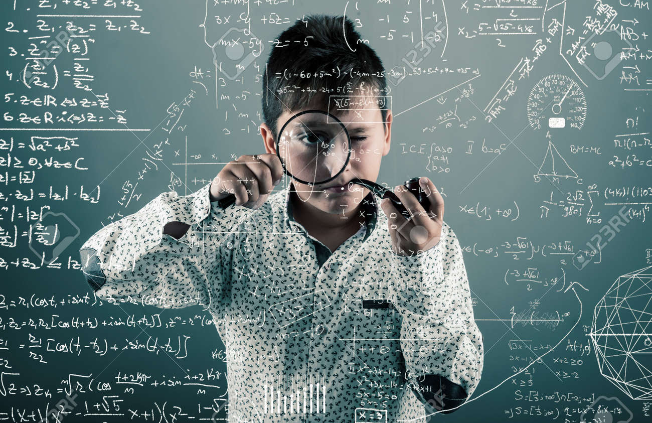 Kid With A Pipe Look Through Magnifying Glasses To Mathematical ...