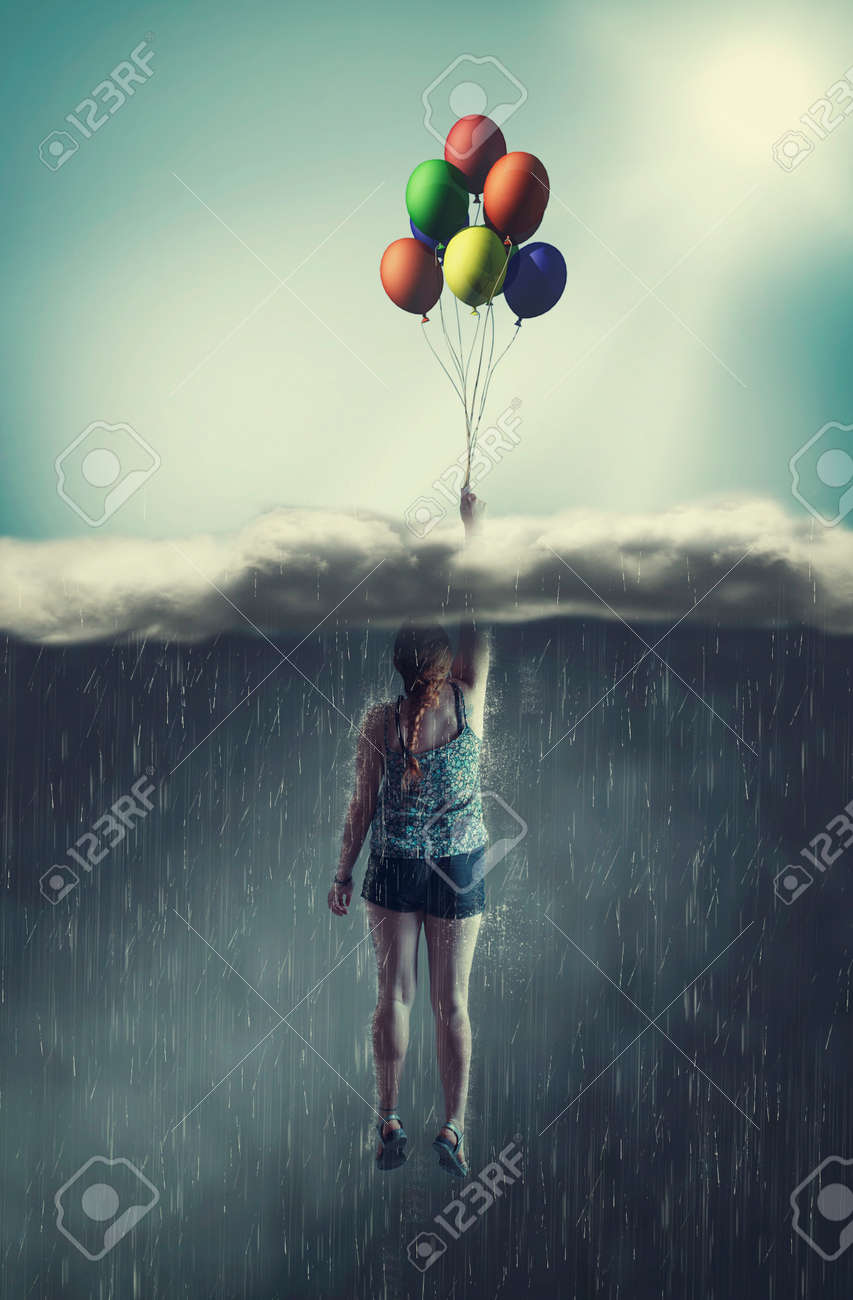 Woman flying with balloons through a rainy cloud to the sunny sky. The concept of overcoming fears. - 117978070