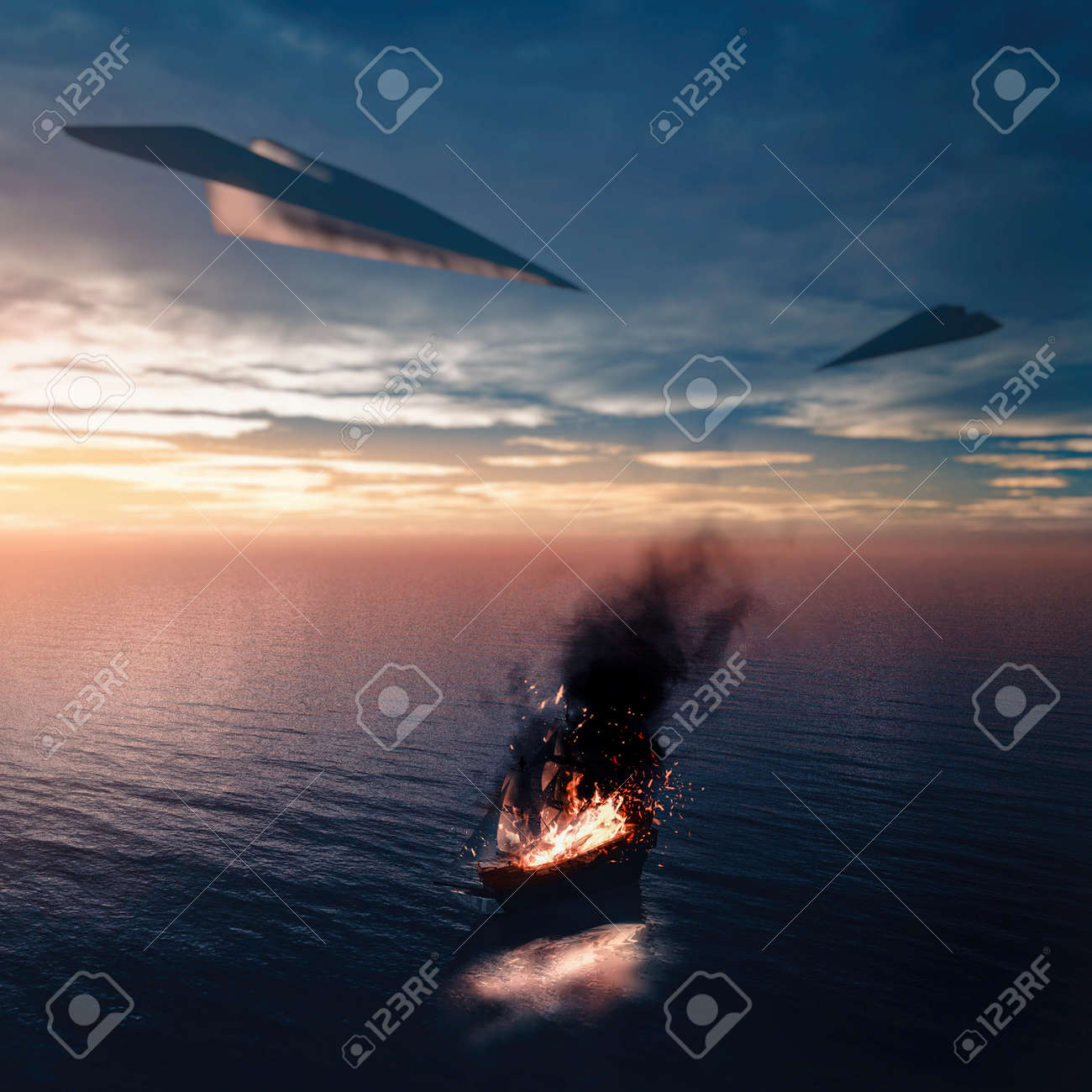 Ship in the ocean on fire. Ship attacked by airplanes of paper . - 120259631