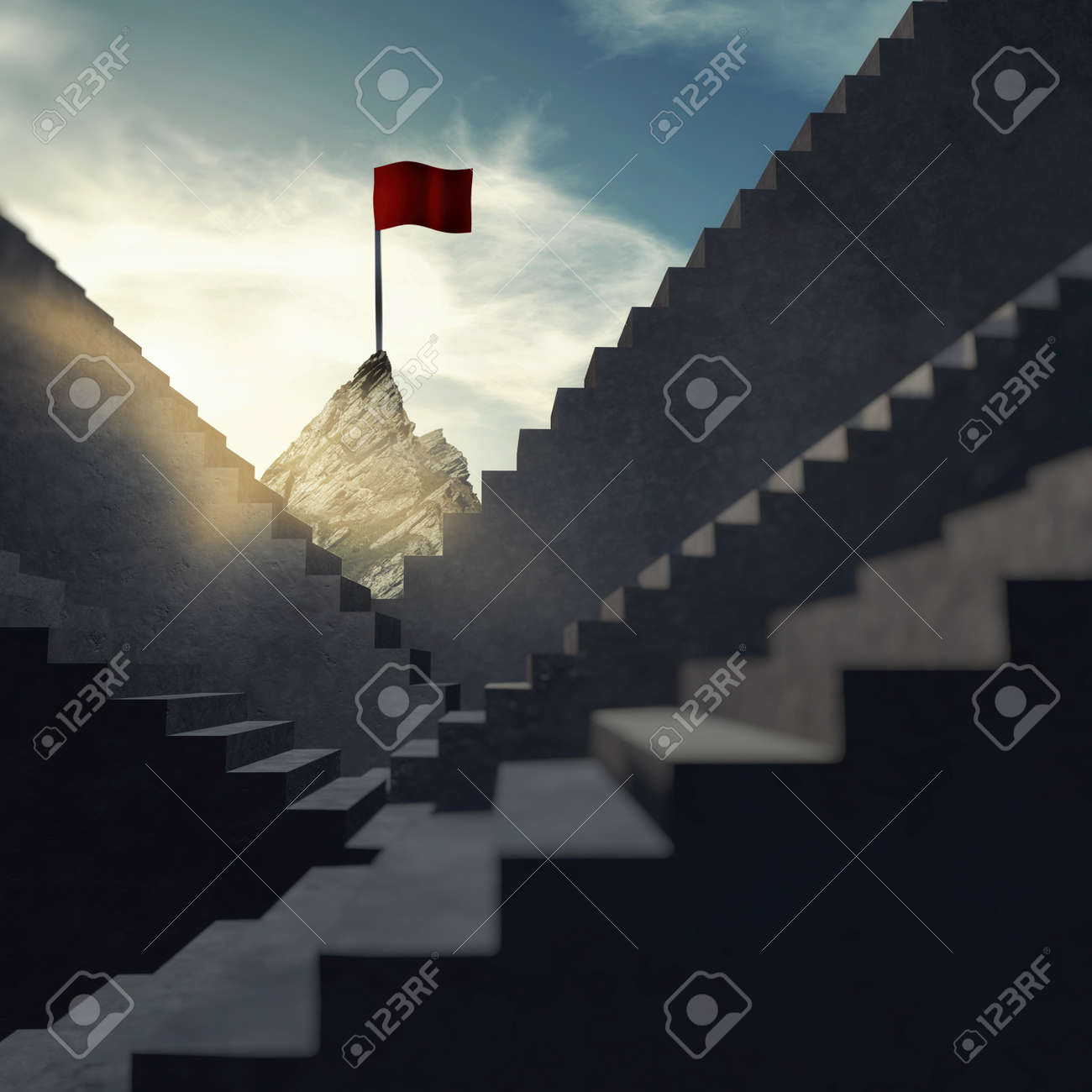 Stairways leading to a mountain peak with a red flag on top . The concept of achieving dreams. - 143100465