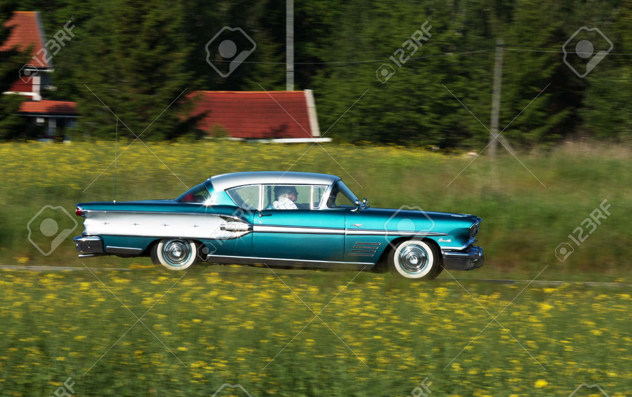 Trosa Sweden, 5 June 2014, PONTIAC BONNEVILLE, Model 1958. This ...