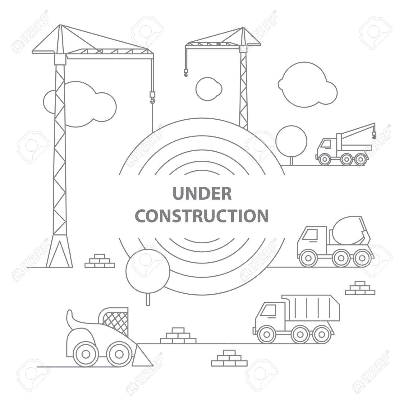 Gebäude Unter Baustelle, Bau Infografiken, Vektor Illustration ...