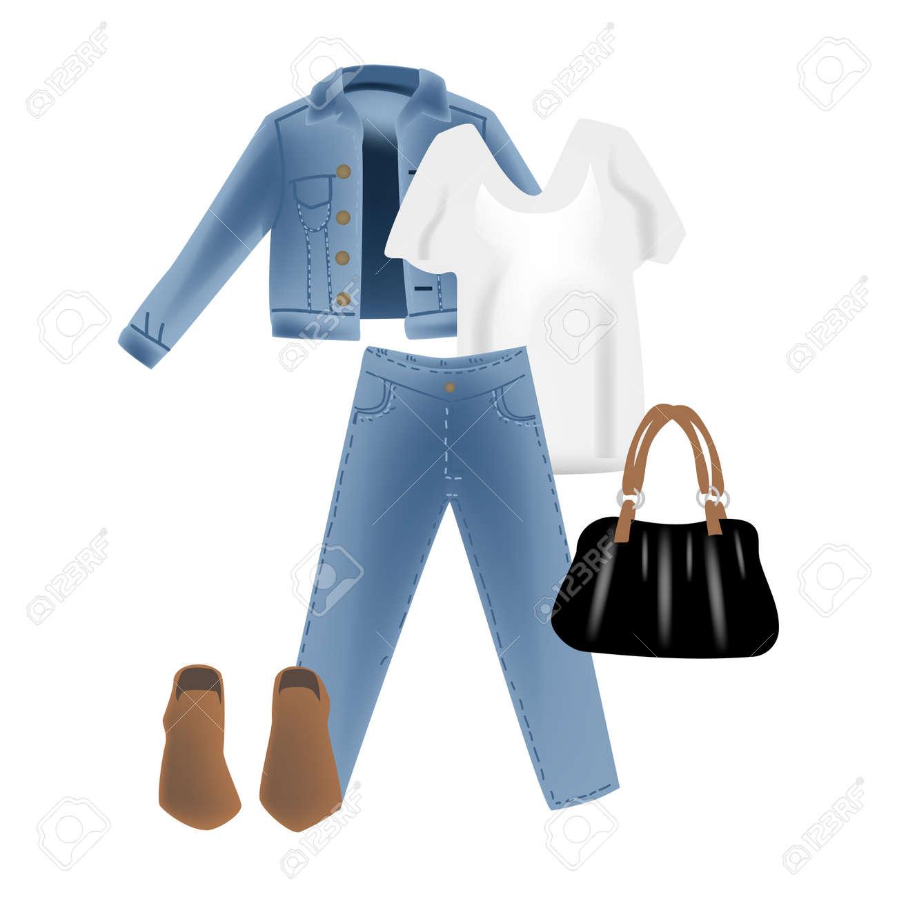 モダンな外観のジーンズ デニム ジャケットとベクトル リアリズム