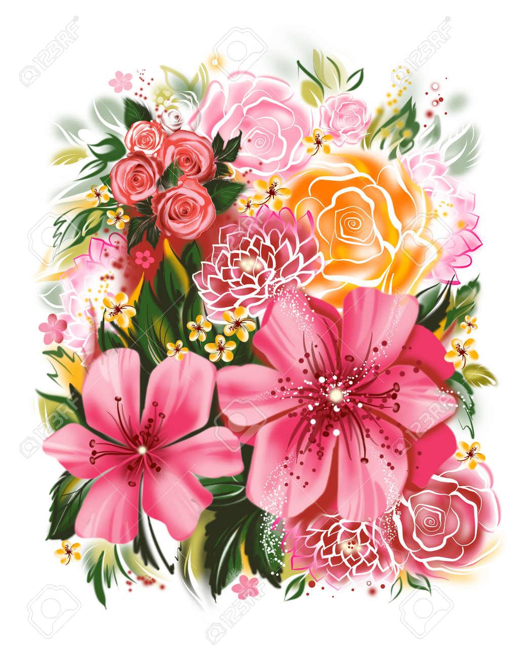 Exceptionnel Illustrazione A Colori Di Fiori Dipinti Ad Acquerello. Biglietto  HY55