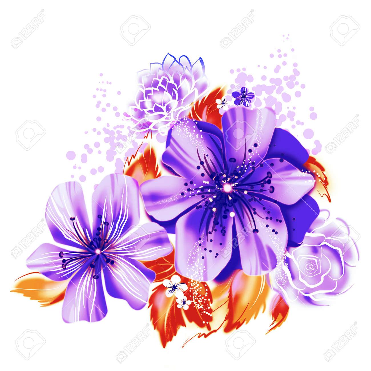 Illustration De La Couleur De Fleurs Dans Les Peintures A L