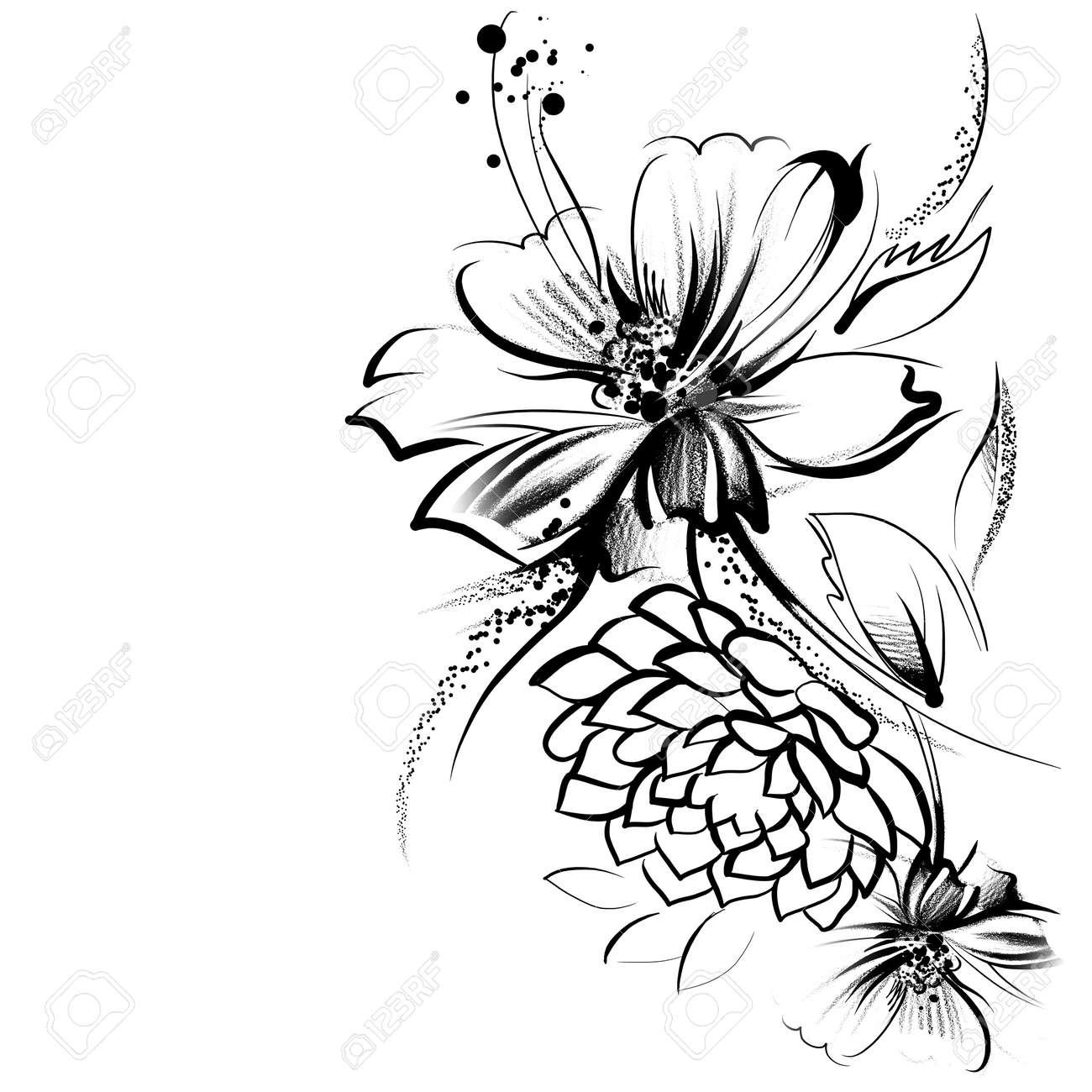 Fleurs Tracées à Lencre Sur Le Vieux Papier Le Dessin Denfant Un Crayon Dans La Technologie Graphique Roses Et Marguerites Vintage Style