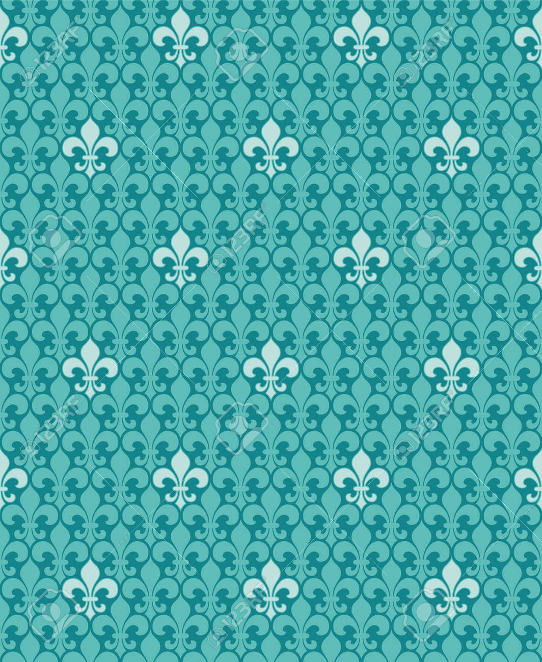 Vintage Wallpaper Light Ornaments On Turquoise Blue Background
