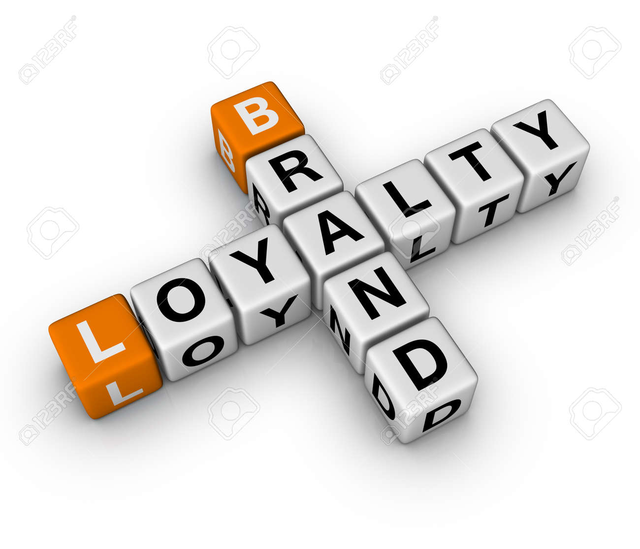 brand and customer loyalty  (3D crossword orange series) Stock Photo - 8773224