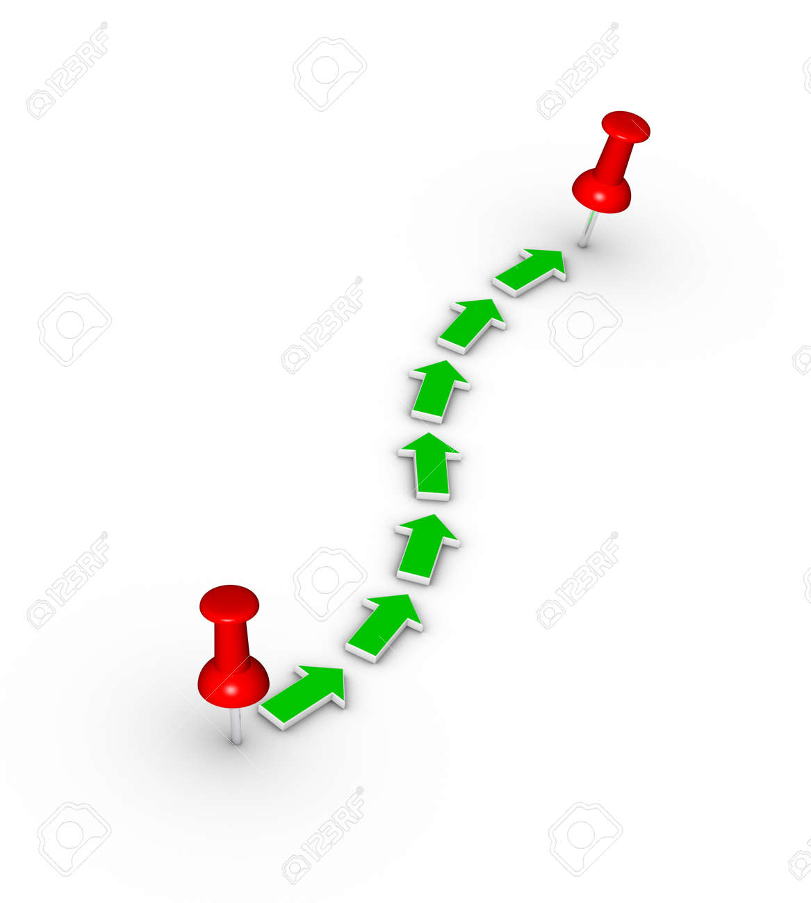 point-to-point travel route with red thumbtacks and green arrows Stock Photo - 10587521