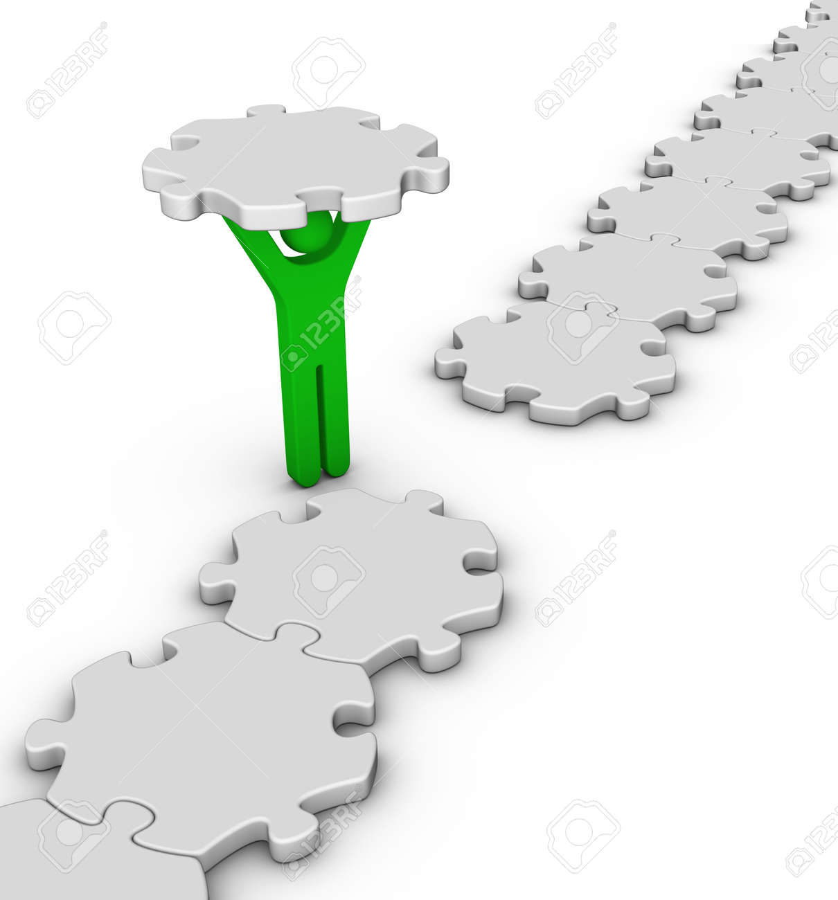 man with last jigsaw piece for puzzle bridge Stock Photo - 12374243