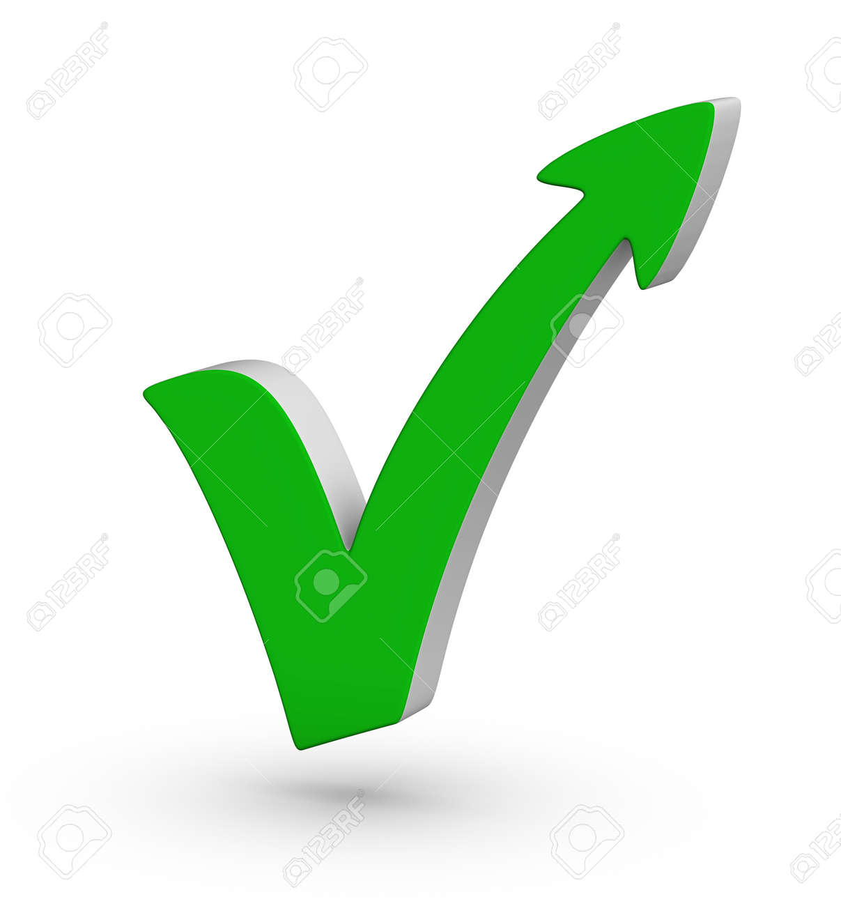 Red check mark with arrow on white background Stock Photo - 12374224
