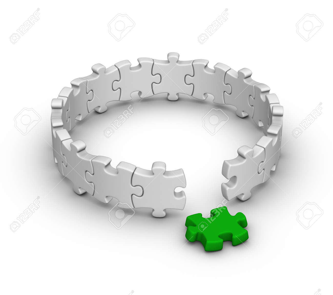 Gray Jigsaw Puzzles With One Red Piece Stock Photo, Picture And ...