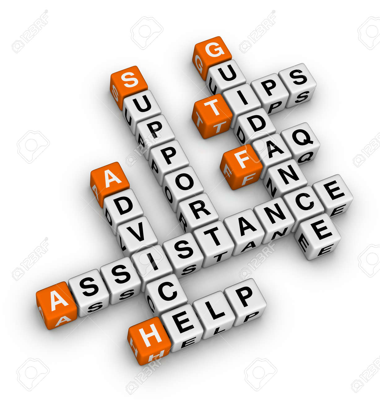Help and support crossword Stock Photo - 12374313