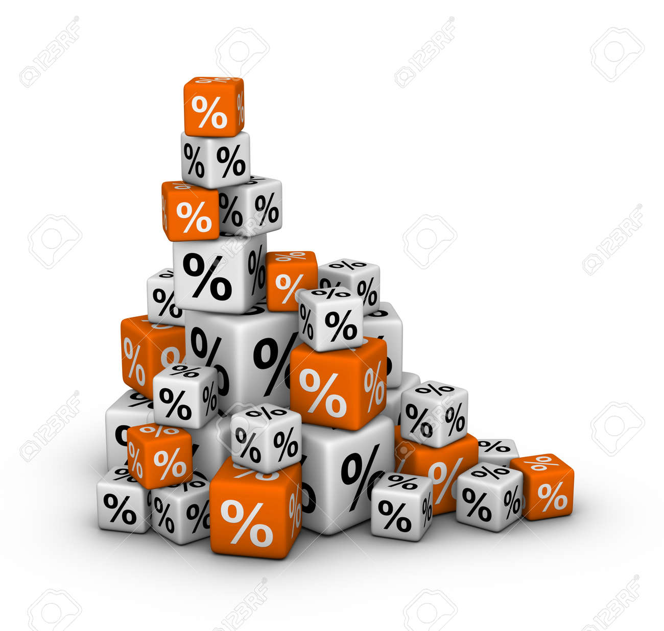 Stack of boxes with percent sign (sales or finance concept) Stock Photo - 12374330