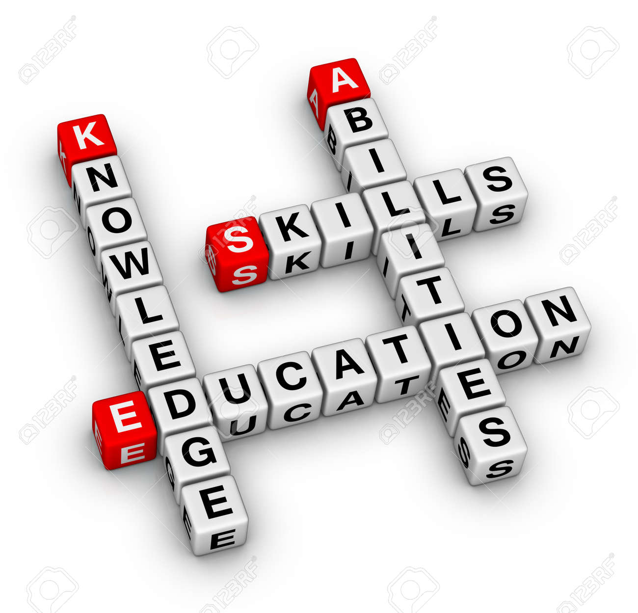 Skills, Knowledge, Abilities, Education Crossword Puzzle Stock ...