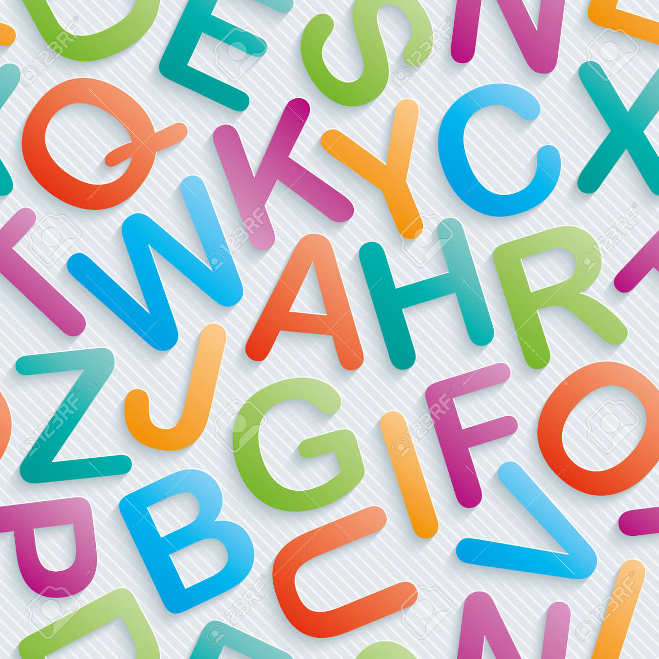 Colorful Alphabet Wallpaper Seamless Background With 3D Effect Vector EPS10 Stock