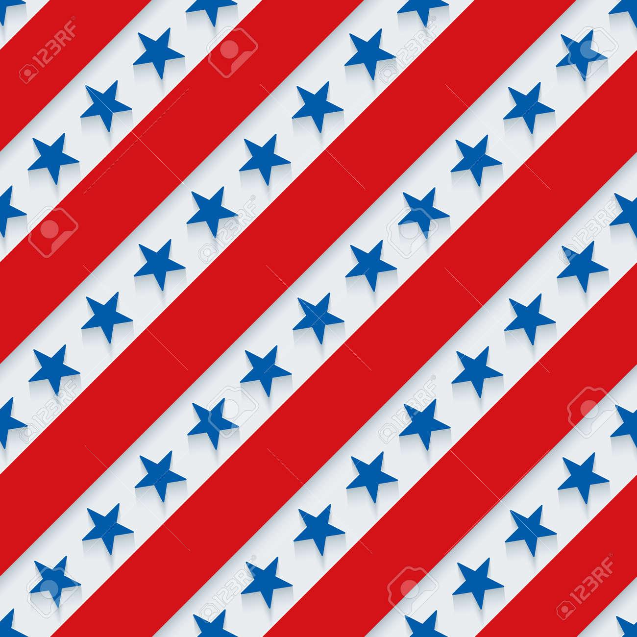 7 月 4 日 星条旗の壁紙 3 D のシームレスな背景 ベクトル Eps10