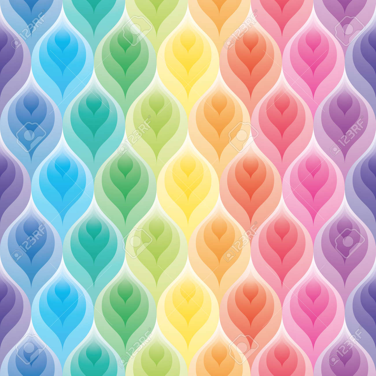 Rainbow Wallpaper 3d Seamless Background Vector EPS10 Stock