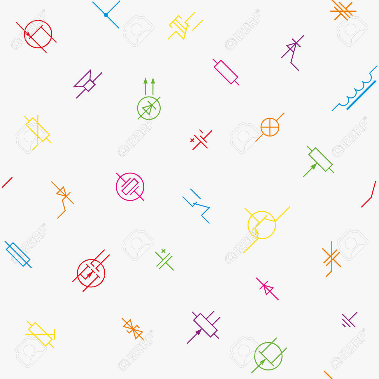 Electronics Circuit Components Symbols Seamless Wallpaper Pattern And Vector Background With Radionic Elements Stock