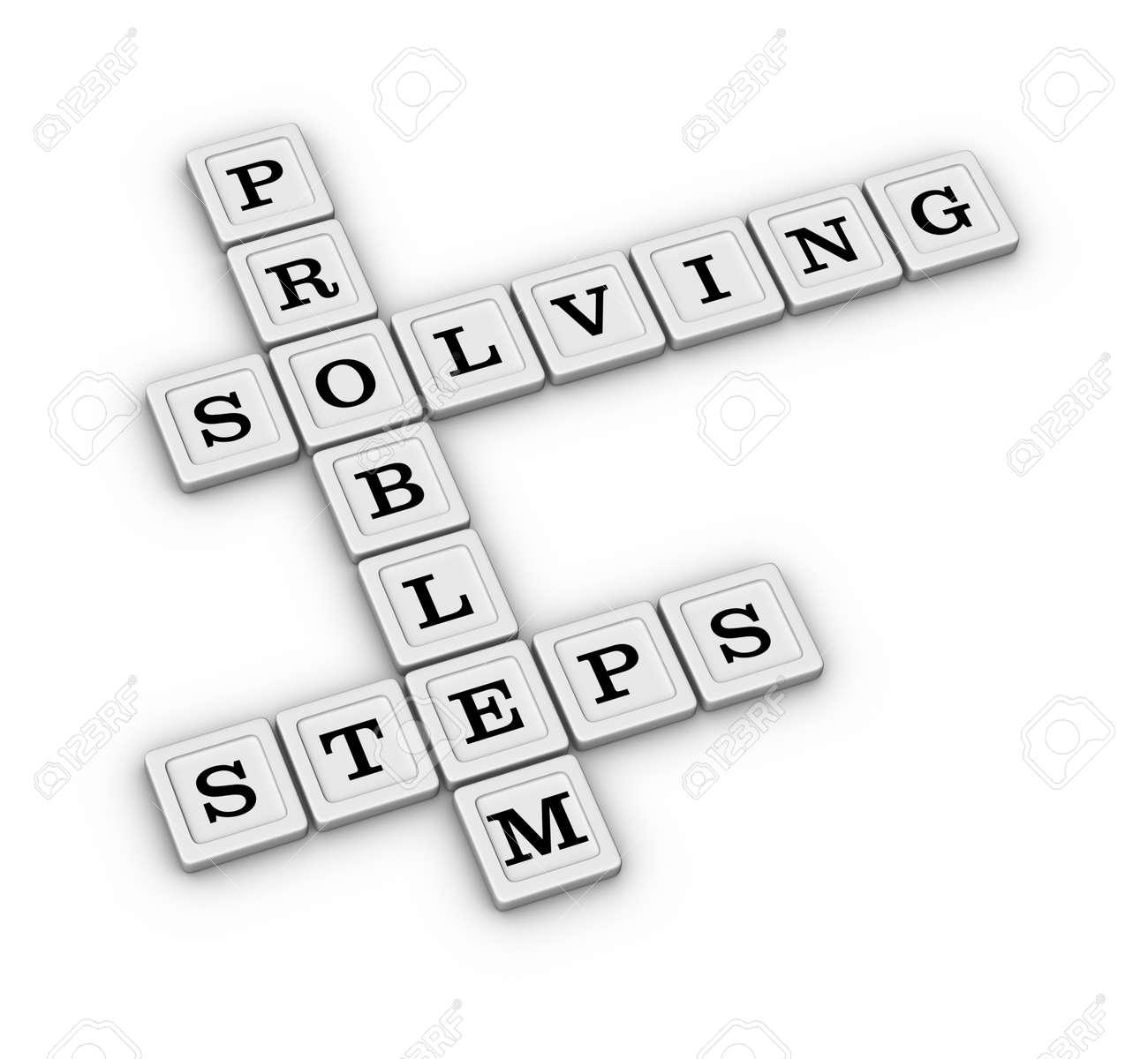 問題解決の手順クロスワード パズル 3 d イラスト白い背景で隔離