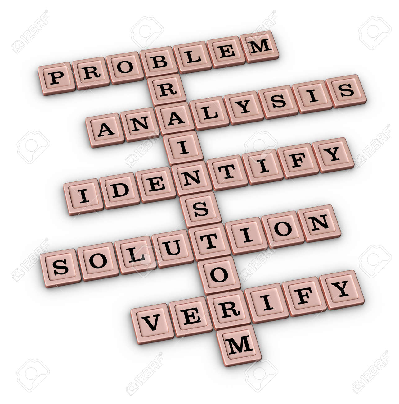 Problem Solving Steps Crossword Puzzle Brainstorm Rose Gold 3d