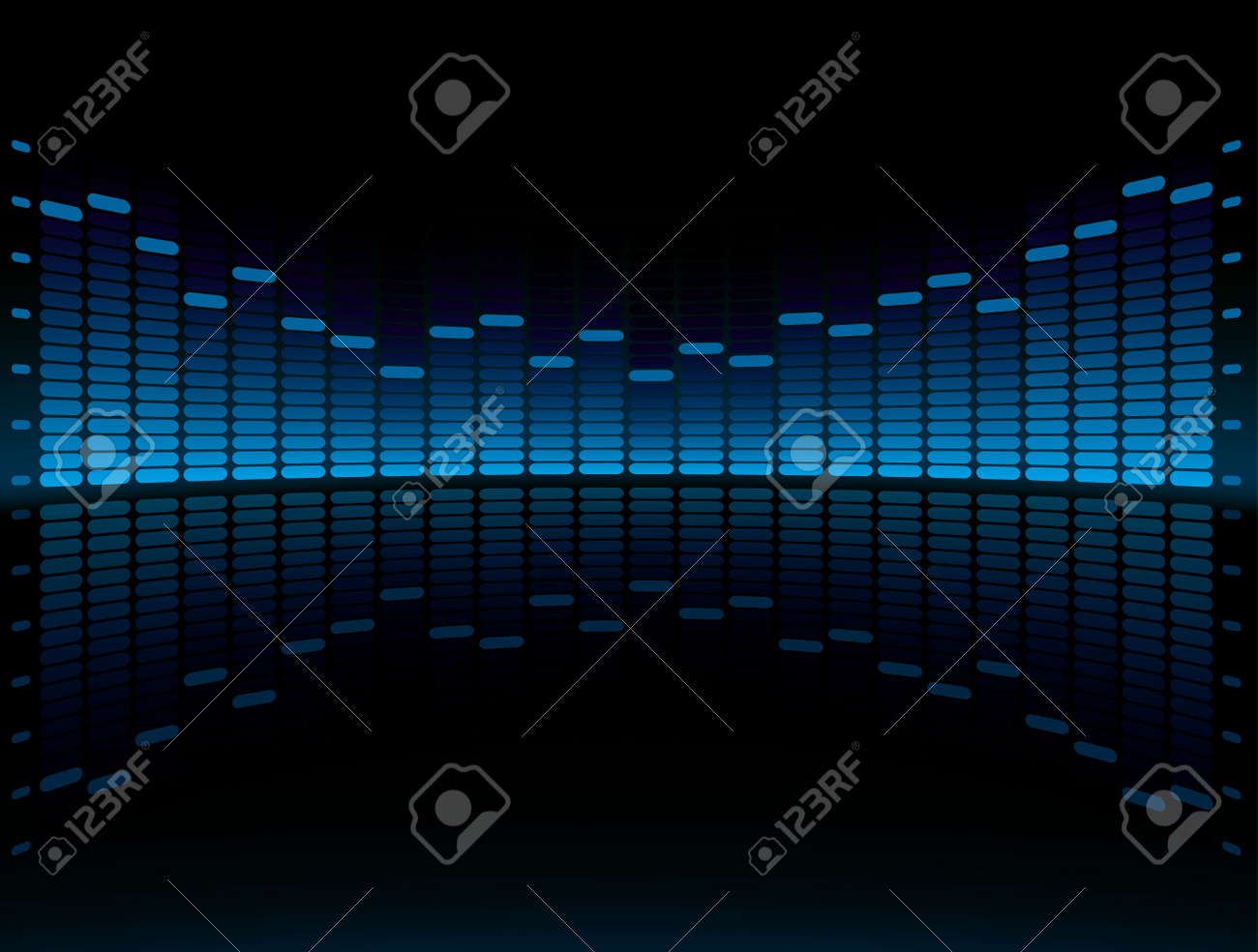 Blue Graphic Equalizer Display vector illustration with copy