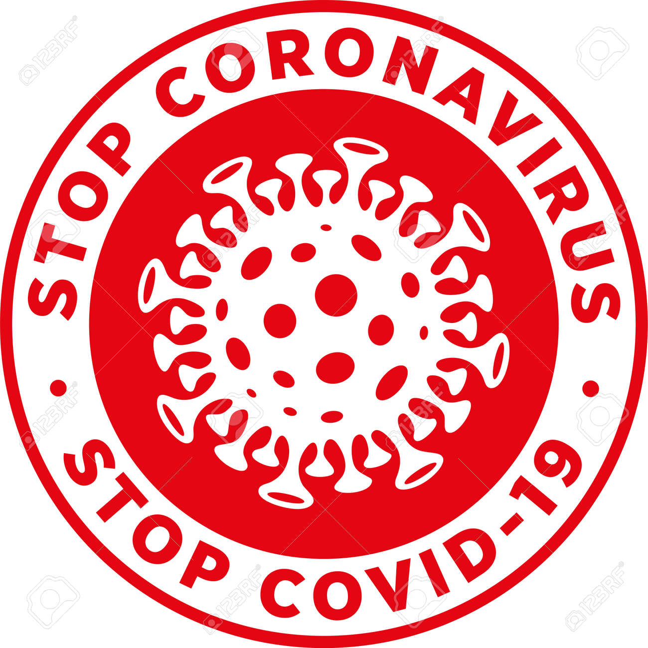 Stop Coronavirus Stop Covid19 Signage or Sticker for help reduce the risk of catching novel coronavirus. Vector sign. - 144328427