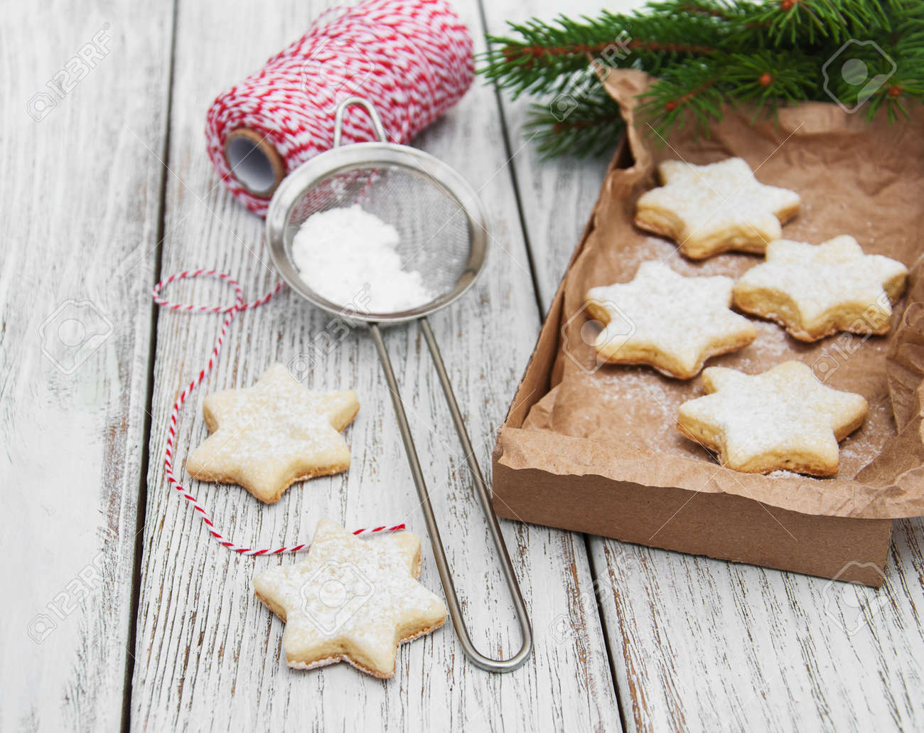 Christmas Cookies Fresh Baked Star Shaped Biscuits